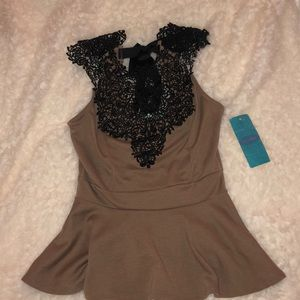 Tops - Empire Waist Top with Lace Neck